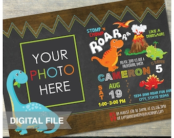 "Dinosaur Birthday Invitation Chalkboard Party Rustic Wood Style Boy or Girl - Photo - DIGITAL Printable Invite - 5"" x 7"""