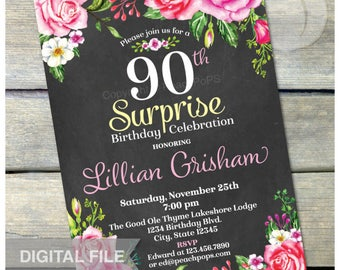 """Surprise 90th Birthday Invitation Chalkboard Watercolor Rose Floral Flowers Women Birthday Party Any Age DIGITAL Printable Invite - 5"""" x 7"""""""