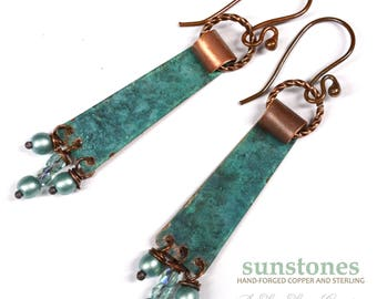 Hammered Rustic Copper Earrings E998
