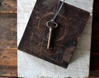 Antiqe Skeleton Key Necklace - Leather Key Necklace - Men - Women - Choose Your Cord Color