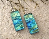 Golden Green Aqua, Dichroic Earrings, Dichroic Jewelry, Dangle Drop Earrings, Fused Glass Earrings, Silver or Gold Ear Wires, 031816e100