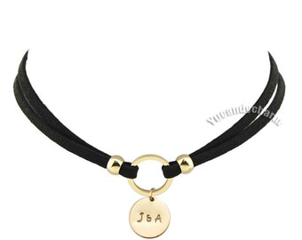Personalized Hand Stamped Custom Name Initial Engraving Engraved Gold Leather Choker Leather Wrap Boho Necklace Nickel Free Lover family
