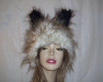 Black White Dog Hat White Cream Black Tan Spike Fur Wolf Ears Animal Creature Cat Coyote Costume Unisex Geek Adult Hat Halloween Costume Wig