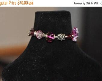 Spring Sale Bright Deep Pink Lampwork and Bali Bead Bracelet