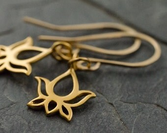 Golden Lotus Earrings. Yoga Earring. Lotus Earring. Yoga Jewelry. Gold Vermeil Earrings. Lotus Flower.