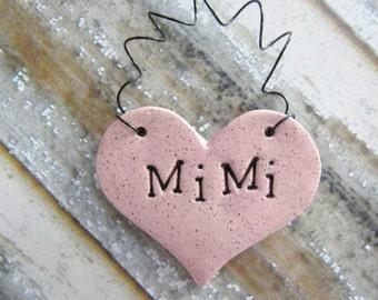 Mimi Ornament - ceramic clay - heart shaped - personalized, handmade, ready to mail