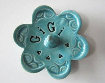Gigi ring dish - Gift for GiGi - Keepsake Ring Dish -  Glazed in Sea Isle Turquoise - Gift box included