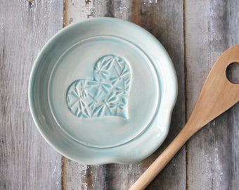 Spoon Rest, Ladle Rest,  Glazed in Light Blue with Dragonflies and a heart imprint