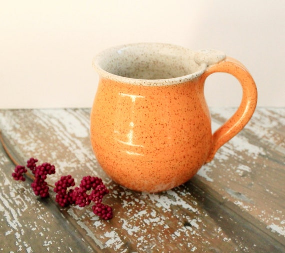 Speckled Orange Pottery Mug - Ceramic Coffee Cup - 13 oz - Ready to Ship