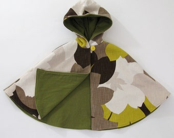 Floral Yellow, Brown & Creme Hooded Cape Toddler Girls' Cape with Moss Green Lining - Size 3/4T - cape, cloak, coat, jacket