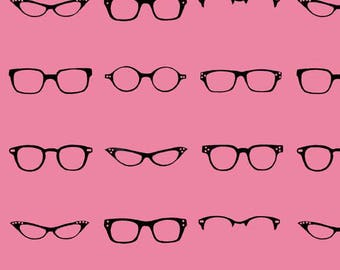 Riley Blake Designs, Geekly Chic, Geekly Glasses Hot Pink Fabric - REMNANT Size 27 Inches by 42 Inches