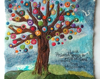 """Tree Fiber Art: """"And the Tree Blossomed"""" (Felted Wool & Silk, 10 x 10"""" Original Work)"""