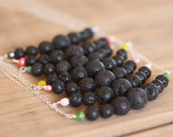 lava bead diffuser necklace for essential oils - sterling silver