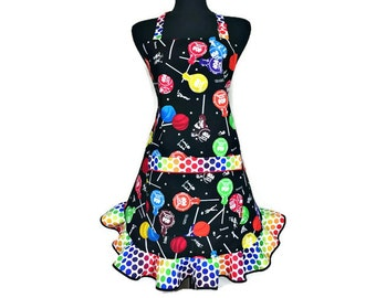 Tootsie Pop Apron for women with ruffle, Retro Pin Up Girl style kitchen decor, Candy Making / Suckers, Lollipops