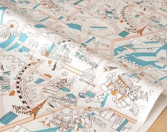 Japanese Fabric Yuwa Tokyo - blue - 50cm