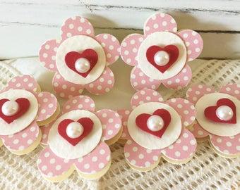 Pink Polkadot Little Heart Paper Flower Embellishments set of 6
