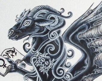 "Lovecraft Art Print, Cthulhu, signed glicee, mother, dark,, fantasy, gothic,  ""Shub Niggurath"""