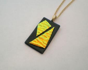 SALE Dichroic pendant, fused glass pendant, black and gold dichroic pendant