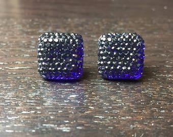 Sparkling Square Acrylic Dark Purple Post Earrings