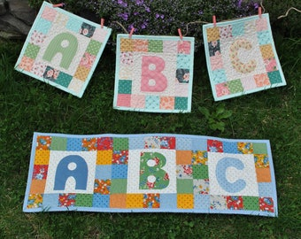 PDF Quilt PATTERN ...ABC Banner Charm Friendly