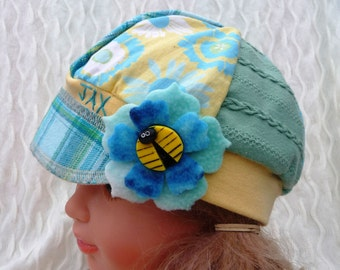Jax Hat Child size - teal - yellow hat - mixed fabrics hat - upcycled hat - recycled - Montana hat - chemo hat - little girl hat
