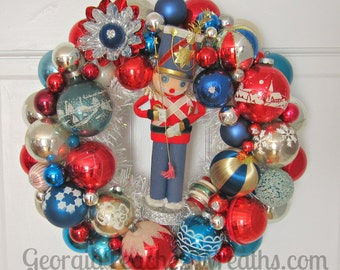 "Vintage Shiny & Brite Christmas Ornament Wreath 4816 - 15"" diameter"