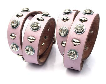 Butter Soft Pink Leather Dog Collar with Rhinestones and Silver Studs, Size S-M, to fit a 12-15in Neck, Small Dog, EcoFriendly, OOAK