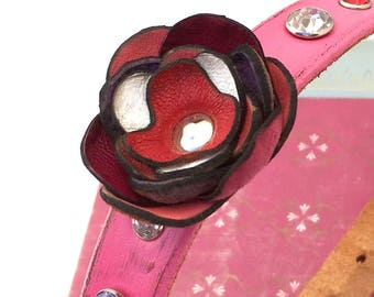 Bubblegum Pink Leather Dog Collar with Rhinestones and One Offset Leather Flower, Size M, to fit a 14-17in Neck, Medium Dog Collar, OOAK