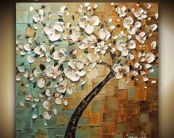 ORIGINAL White Cherry Blossom Tree Abstract Contemporary Oil Painting Thick Texture Fine Art by Susanna Ready to Hang 24x24 Made2Order
