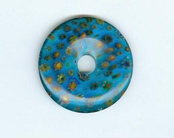 40mm Glass Donut 40mm Dark Aqua Blue Millefiori Glass Pi Donut Focal Pendant Flower Bead 479