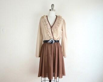 vintage 80s ruffle bodice dress / polka dot dress / large