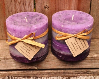 """SALE: Pair of Calibrian Bergamot and Violet Scented 4""""x4"""" Round Pillar Candles"""