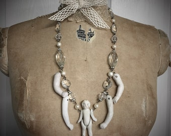 Bohemian Antique Baby Doll Parts Necklace by Louise Black