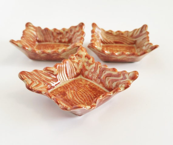 Handmade Pottery - Ceramic Dish -  Set of 3 - Trinket Dish - Candle Holder - Jewelry Dish - Ceramic Dipping Bowl - Stoneware - Change Dish