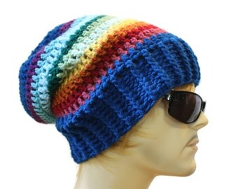 Slouchy Beaniee  Slouch Hat Mens or Womens  Blue rainbow Striped Crochet Hat