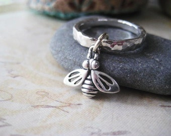 Bumble Bee Ring, Fine Silver, Bee Charm, Sterling Silver, Textured Ring, Dangling Bee, Stacking Ring, candies64