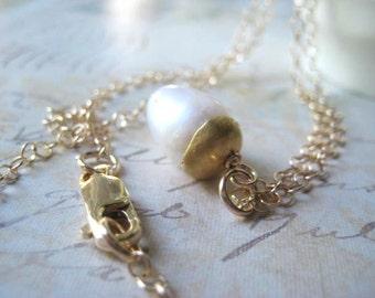 White Pearl Necklace, Artisan Beadcap, Gold Beadcaps, 14k Gold Filled, Pearl Necklace, Gold Chain, Organic Beadcaps, candies64