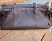 SALE J Jill Leather Bag | Brown Leather Hobo Bag | Boho Hippie | Large Brown Leather Purse | Large Leather Tote | Small Laptop or Ipad Bag