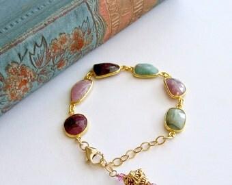 Multicolored Sapphire Slices Adjustable Bracelet - Suzie IV Bracelet