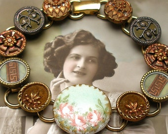 "Antique BUTTONs gold bracelet, Victorian porcelain with flowers in copper & green. 7.5"" One of a kind."