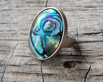 Abalone Shell Ring, Peacock Abalone seashell with Silver plated Ring, Shades of Teal, Blue, Purple and Green, Beach Jewelry
