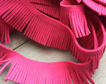 """Fringe Trim (R78) Faux Suede Fringe Trim Hot Pink 12"""" Length 1 1/8"""" width Perfect for Making Tassels and other crafts"""