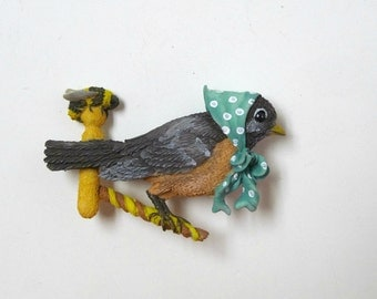 OOAK . story book little bird brooch