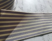 1.5  inch wide Twill Gray and Cream Woven Striped Ribbon Trim