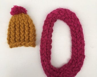 SALE knitted hat and shawl  set orche/magenta