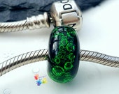 Lampwork European Charm Bead Neon Green Bubbles With Large Hole