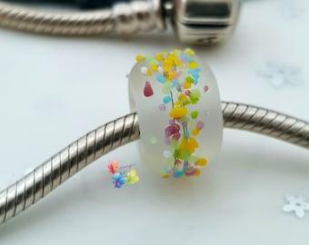 Lampwork European Charm Bead With Large Hole Rainbow Blossom