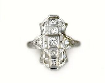 Art Deco White Gold and Diamond Ring - Vintage Diamond Ring