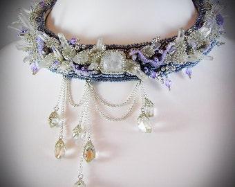 Quartz point choker - Crystal Point Choker - thick choker collar - snow queen costume - Raw Crystal Choker - quartz choker - gemstone choker