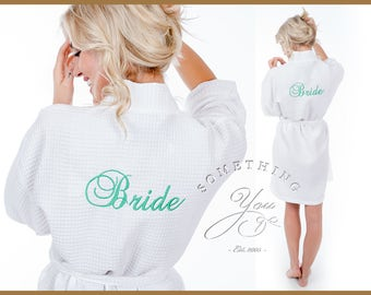 "Wedding Day Robe- Back Embroidered- Choose ""Bride"" ""Maid of Honor"" ""Bridesmaid"" ""Matron of Honor"" Bride Gift Bridesmaids Gift Bride Robe"